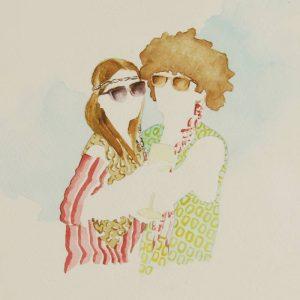 Detalle Obra Hippie party - Serie Descarados - Artista Antonio Morales Prats