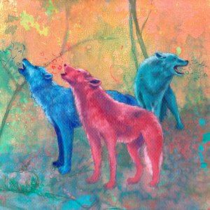 Detalle Obra Lobos - Serie Colorzoo - Artista Antonio Morales Prats