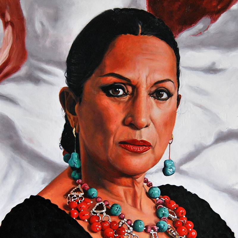 Detalle Obra Lola Flores - Serie Musas - Artista pintor Antonio Morales Prats