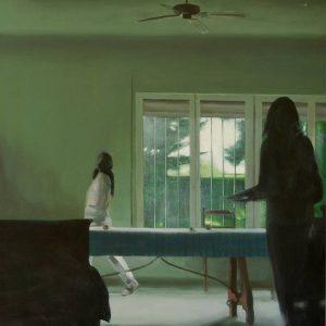 Detalle Obra Quitando la mesa - Serie A nosotros - Artista pintor Antonio Morales Prats