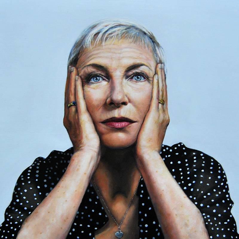 Detalle Obra Retrato Annie Lenox - Serie Musas - Artista pintor Antonio Morales Prats