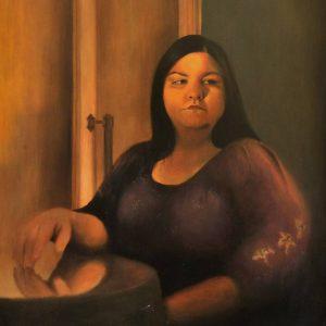 Detalle Obra Retrato Clío - Serie A nosotros - Artista pintor Antonio Morales Prats