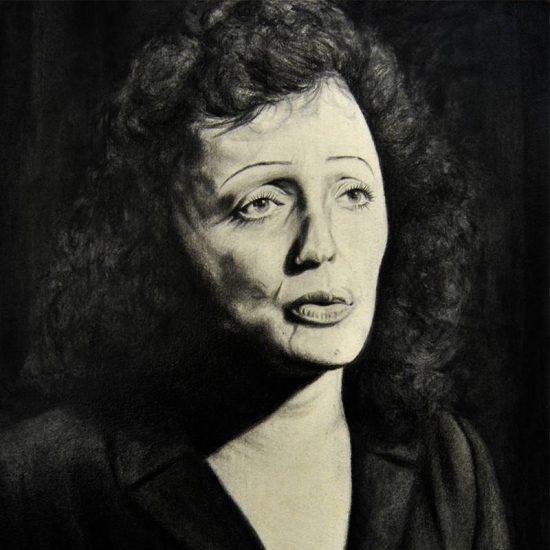 Detalle Obra Retrato Edith Piaf - Serie Musas - Artista pintor Antonio Morales Prats