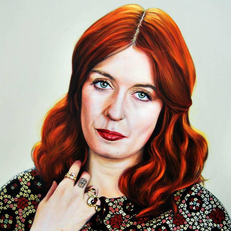 Detalle Obra Retrato Florence Welch - Serie Musas - Artista pintor Antonio Morales Prats