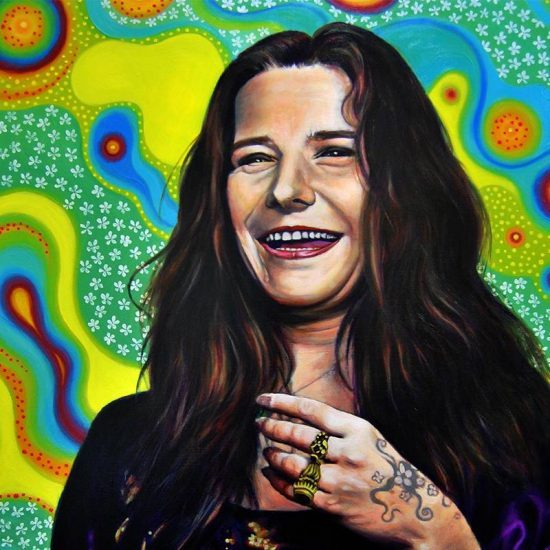 Detalle Obra Retrato Janis Joplin - Serie Musas - Artista pintor Antonio Morales Prats