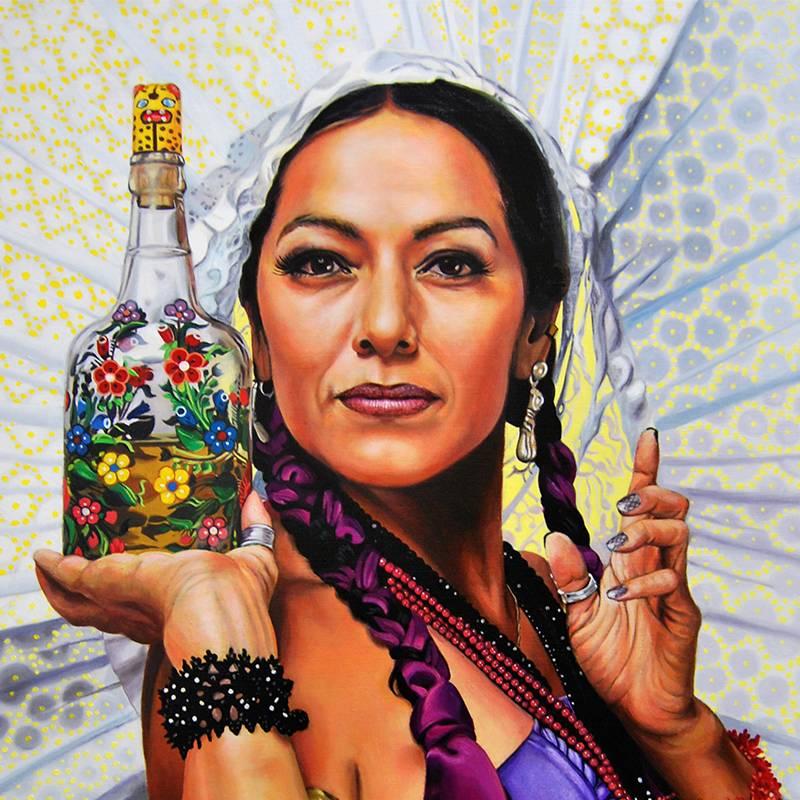 Detalle Obra Retrato Lila Downs - Serie Musas - Artista pintor Antonio Morales Prats