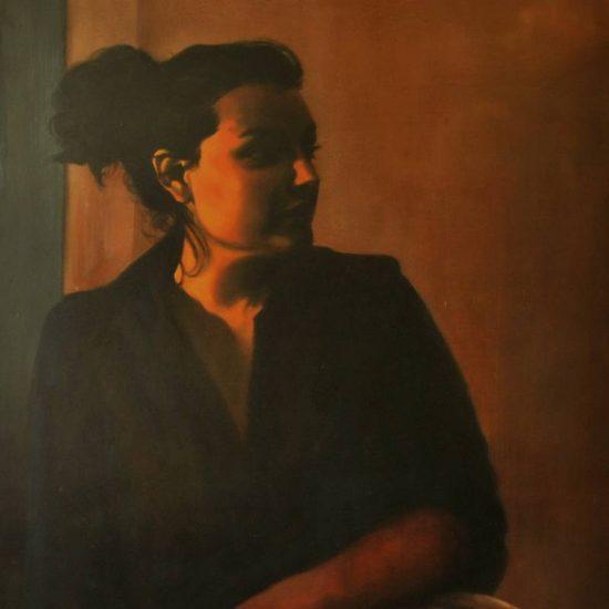 Detalle Obra Retrato Melpómene - Serie A nosotros - Artista pintor Antonio Morales Prats