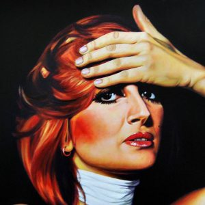 Detalle Obra Retrato Mina Mazzini - Serie Musas - Artista pintor Antonio Morales Prats