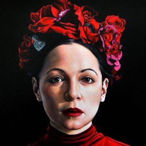 Detalle Obra Retrato Natalia Lafourcade - Serie Musas - Artista pintor Antonio Morales Prats