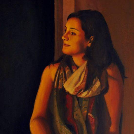 Detalle Obra Retrato Polimnia - Serie A nosotros - Artista pintor Antonio Morales Prats