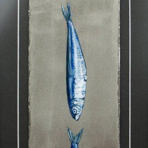 Detalle Obra Sardina muerde cola - Serie Cocina de Autor - Artista pintor Antonio Morales Prats
