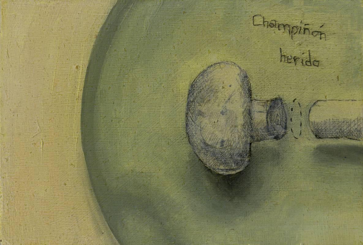 Obra Champiñón herido - Serie Cocina de Autor - Artista pintor Antonio Morales Prats