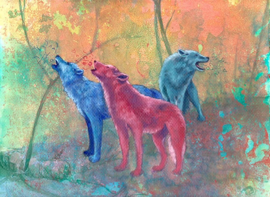 Obra Lobos - Serie Colorzoo - Artista Antonio Morales Prats