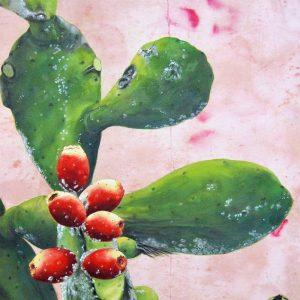 Obra Opuntia ficus indica dactylopius opuntiae - Pintura - Pintor Antonio Morales Prats - Proyecto Kryptos Natura Stationalis