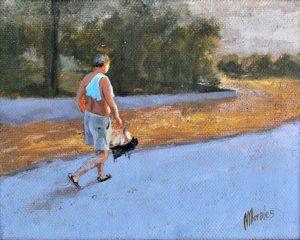 Obra Paseando a las perras - Serie A nosotros - Artista pintor Antonio Morales Prats