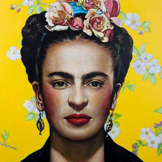 Obra Retrato Frida Kahlo - Serie Artistudios - Artista pintor Antonio Morales Prats_detalle