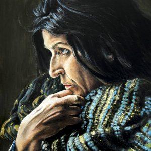Obra Retrato Lita Cabellut - Serie Artistudios - Artista pintor Antonio Morales Prats_detalle
