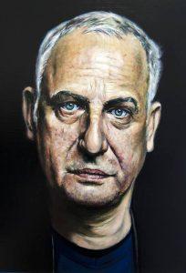 Retrato Luc Tuymans - Serie Artistudios - Artista pintor Antonio Morales Prats detalle