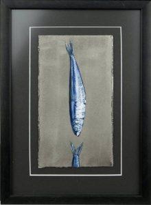 Obra Sardina muerde cola - Serie Cocina de Autor - Artista pintor Antonio Morales Prats